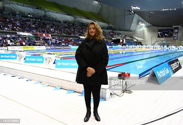 Zaha Hadid the Architect for the London 2012 Aquatics centre poses during day seven of the British Gas Swimming Championships at The London Aquatics...