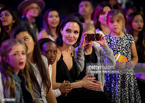 Zahara JoliePitt actress Angelina Jolie and Shiloh JoliePitt attend at Nickelodeon's 28th Annual Kids' Choice Awards held at The Forum on March 28...