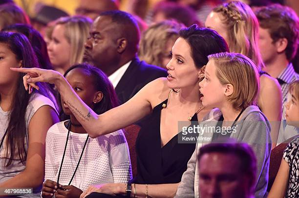 Zahara JoliePitt actress Angelina Jolie and Shiloh JoliePitt in the audience during Nickelodeon's 28th Annual Kids' Choice Awards held at The Forum...