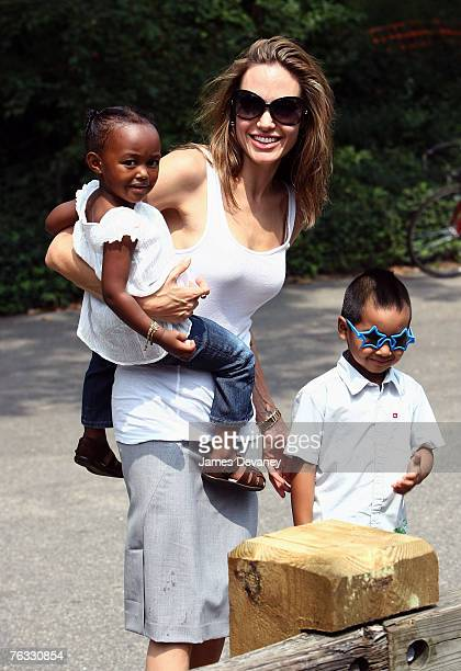 Zahara JoliePitt Angelina Jolie and Maddox JoliePitt visit the Central Park Carousel in New York City on August 25 2007