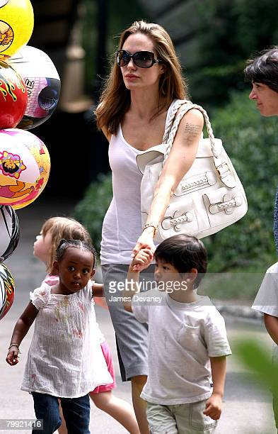 Zahara JoliePitt Angelina Jolie and Pax JoliePitt visit the Central Park Carousel in New York City on August 25 2007
