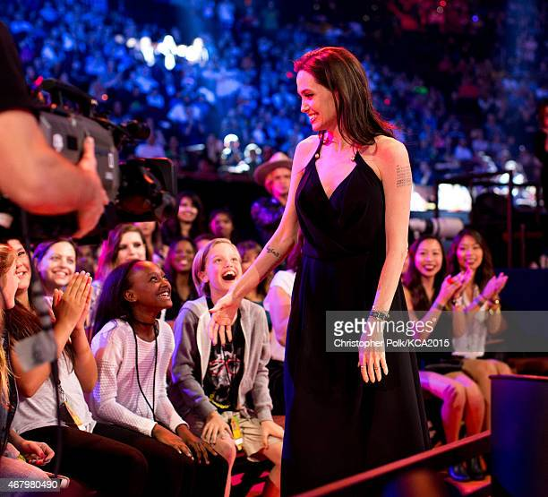Zahara JoliePitt Shiloh JoliePitt and actress Angelina Jolie attend Nickelodeon's 28th Annual Kids' Choice Awards held at The Forum on March 28 2015...