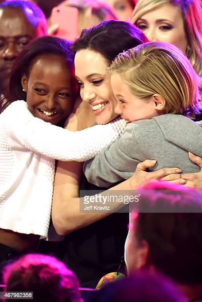 Zahara Marley JoliePit actress/director Angelina Jolie and Shiloh Nouvel JoliePitt sit in the audience during Nickelodeon's 28th Annual Kids' Choice...