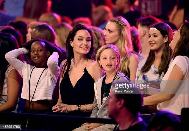 Zahara Marley JoliePitt actress Angelina Jolie and Shiloh Nouvel JoliePitt in the audience during Nickelodeon's 28th Annual Kids' Choice Awards held...