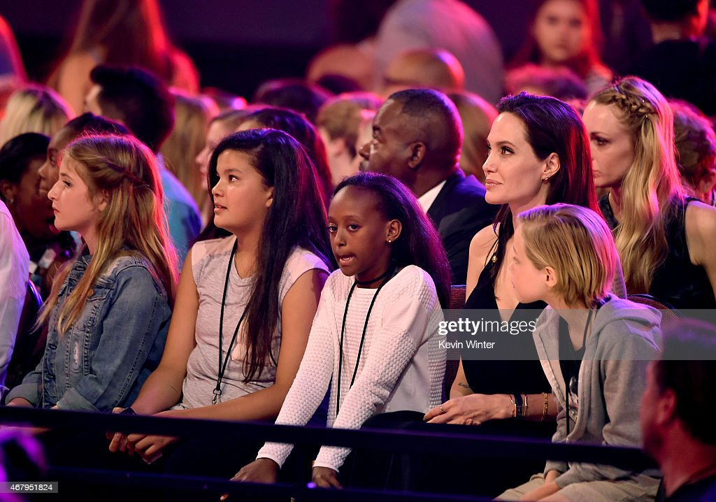 Zahara Marley JoliePitt actress Angelina Jolie and Shiloh Nouvel JoliePitt during Nickelodeon's 28th Annual Kids' Choice Awards held at The Forum on...