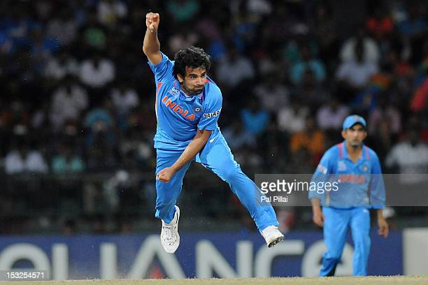 Zaheer Khan of India bowls during the ICC World Twenty20 2012 Super Eights Group 2 match between South Africa and India at R Premadasa Stadium on...