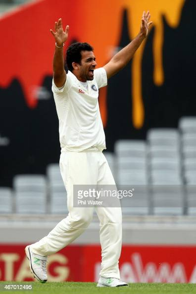 Zaheer Khan of India celebrates his wicket of Peter Fulton of New Zealand during day one of the First Test match between New Zealand and India at...