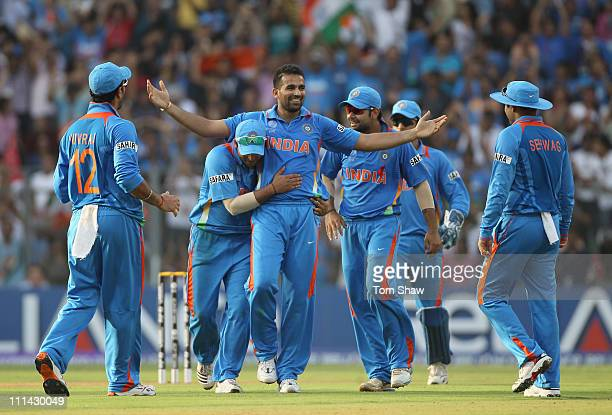 Zaheer Khan of India celebrates taking the wicket of Chamara Kapugedera of Sri Lanka during the 2011 ICC World Cup Final between India and Sri Lanka...