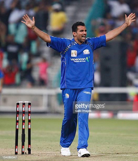 Zaheer Khan of Mumbai Indians celebrates during the Airtel Champions League Twenty20 match between Mumbai Indians and South Australian Redbacks at...