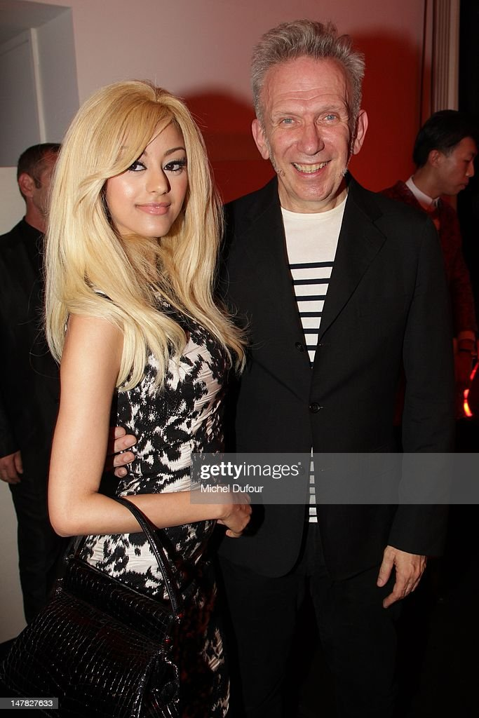 Zahia Dehar and Jean Paul Gaultier attend the Jean-Paul Gaultier Haute-Couture Show as part of Paris Fashion Week Fall / Winter 2013 on July 4, 2012 in Paris, France.