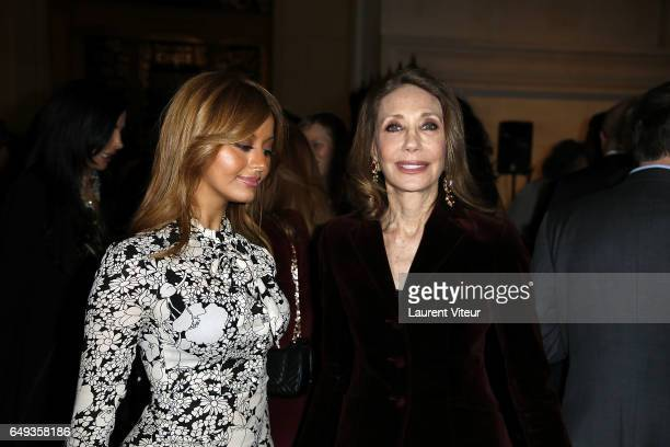 Zahia Dehar and Marisa Berenson attend 'Dessiner L'Or et L'Argent Odiot Orfevre' Exhibition Launch at Musee Des Arts Decoratifs on March 7 2017 in...