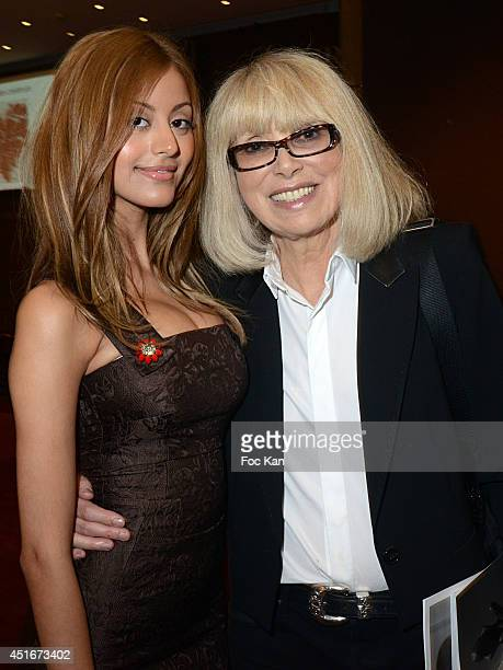 Zahia Dehar and Mireille Darc attend 'Les CÏurs des Createurs' Auction Cocktail in profit of 'La Chaine de L'Espoir' Association at Christie's on...