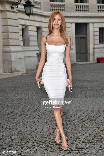 Zahia Dehar arrives at the Versace show as part of Paris Fashion Week Haute Couture Fall/Winter 20142015 on July 6 2014 in Paris France