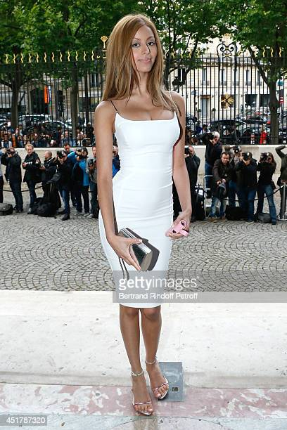 Zahia Dehar attends the Versace show as part of Paris Fashion Week Haute Couture Fall/Winter 20142015 on July 6 2014 in Paris France