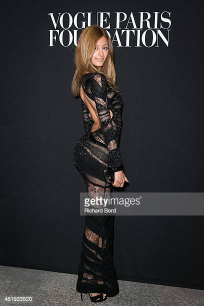 Zahia Dehar attends the Vogue Foundation Gala as part of Paris Fashion Week at Palais Galliera on July 9 2014 in Paris France