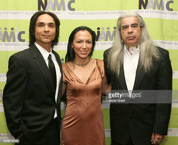 Zahn McClaron Irene Bedard and Gray Wolf during 12th Annual NAMIC Vision Awards Arrivals at Regent Beverly Wilshire in Los Angeles California United...