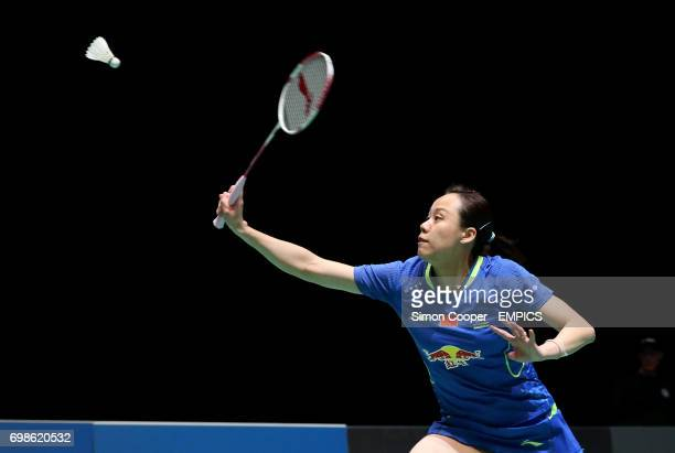 Zaho Yunlei during her first round doubles match with partner Zhang Nan