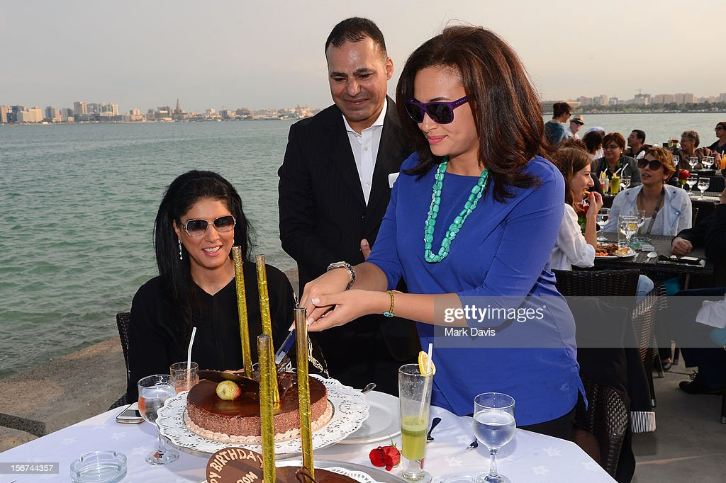 Zahra Arafa and Hend Sabri at the Arab Guests Lunch during the 2012 Doha Tribeca Film Festival at the Al Mourjan Restaurant on November 20, 2012 in Doha, Qatar.