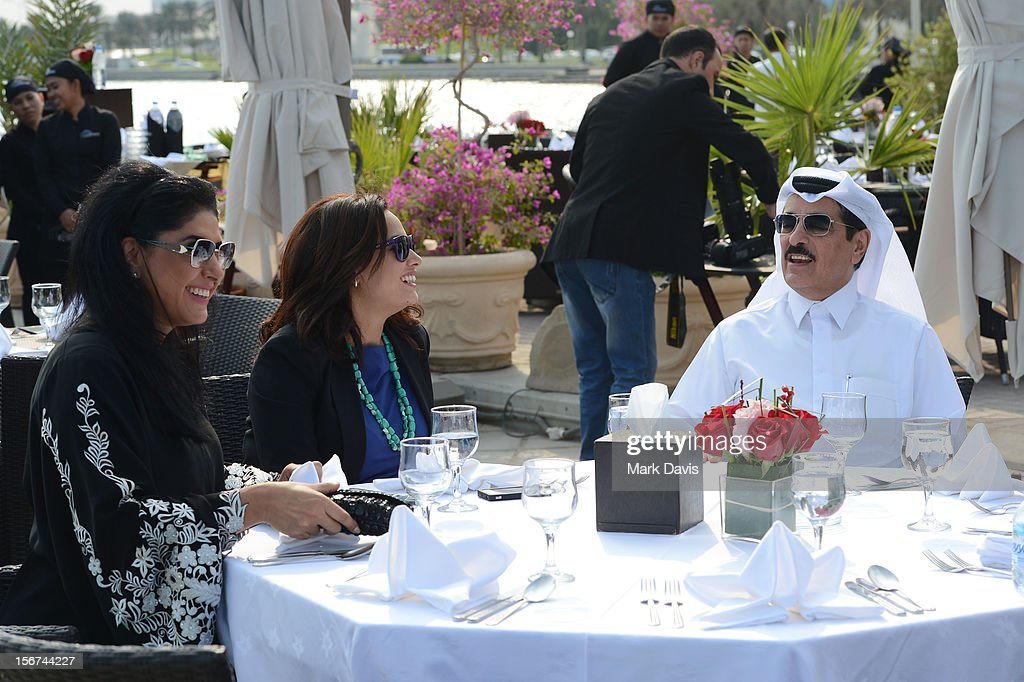 Zahra Arafat, Hend Sabri and Minister of Culture, Arts and HeritageDr. Hamad Bin Abdulaziz Al-Kuwari at the Arab Guests Lunch during the 2012 Doha Tribeca Film Festival at the Al Mourjan Restaurant on November 20, 2012 in Doha, Qatar.