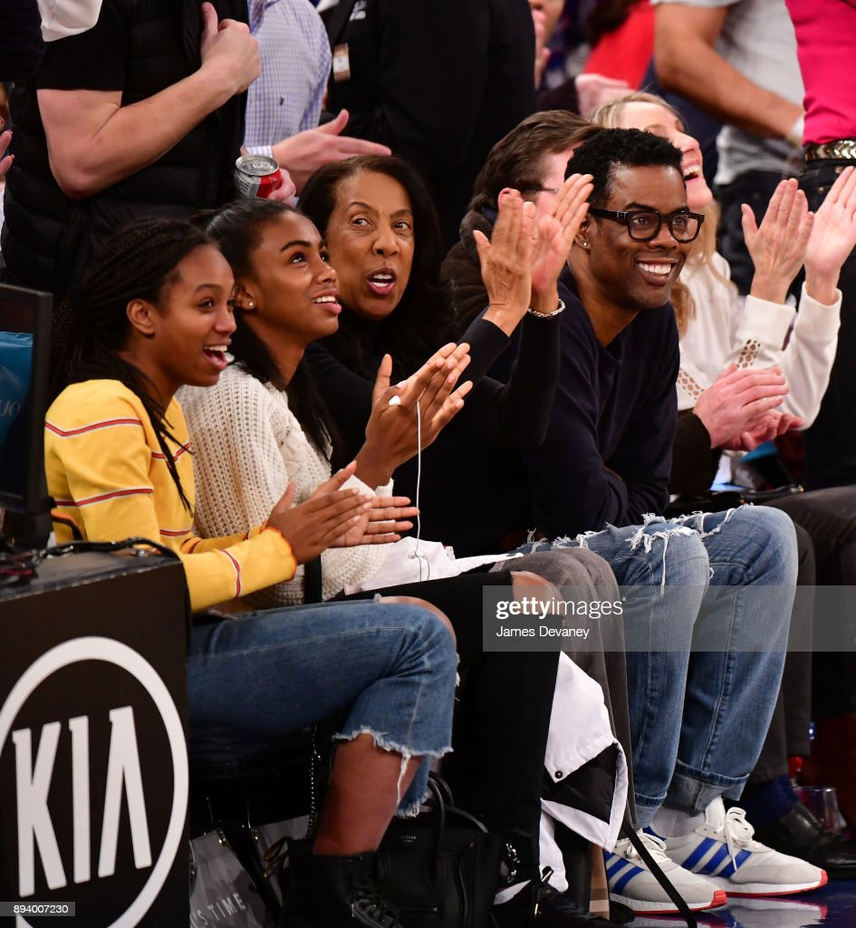 Zahra Savannah Rock, Lola Simone Rock, Rose Rock and Chris Rock attend the Oklahoma City Thunder Vs New York Knicks game at Madison Square Garden on December 16, 2017 in New York City.