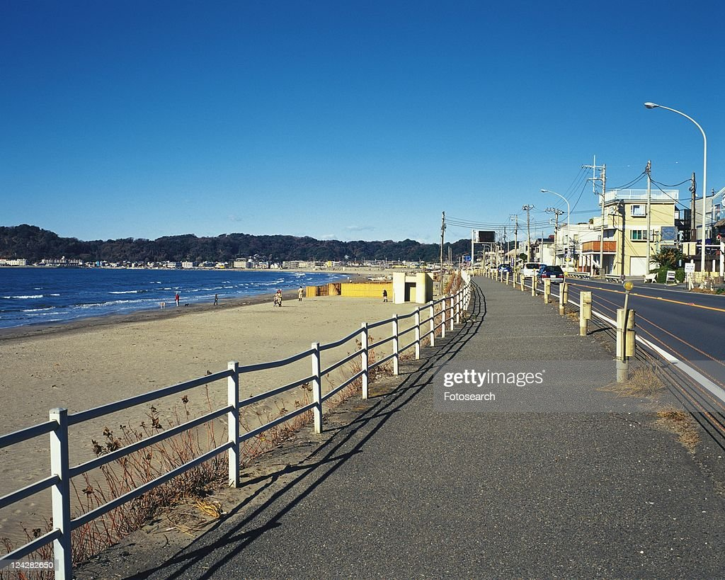 Zaimokuza Beach, Shonan, Kanagawa Prefecture, Japan, Front View, Pan Focus