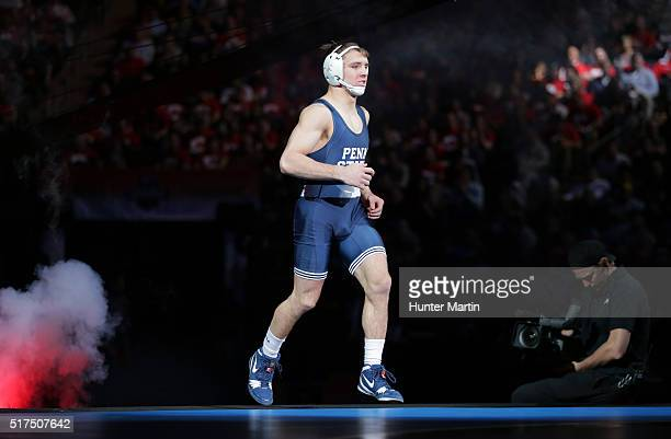 Zain Retherford of the Penn State Nittany Lions runs onto the mat during the finals of the NCAA Wrestling Championships on March 19 2016 at Madison...