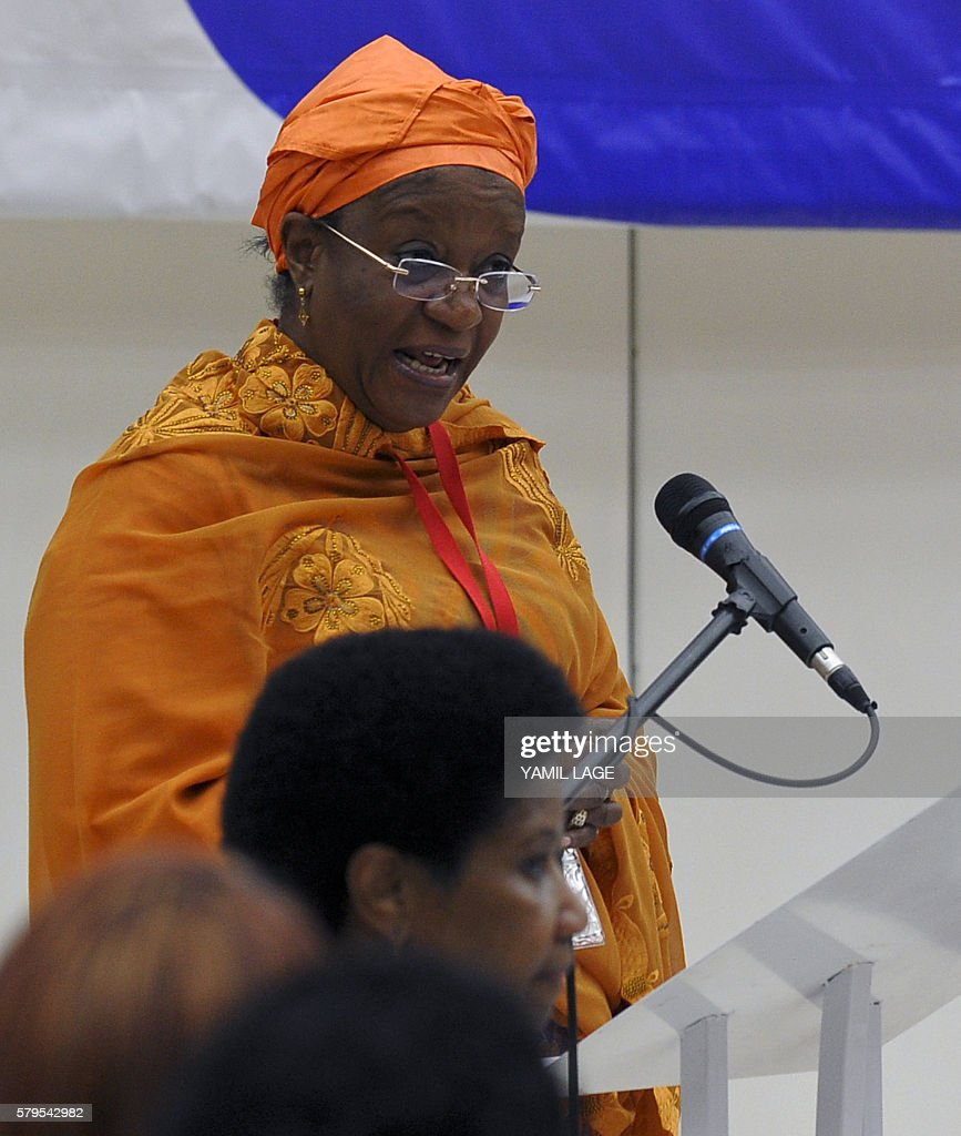 Zainab Bangura Special Representative of the Secretary General of the United Nations for Sexual Violence in Armed Conflict speaks during a press...