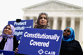 Zainab Chaudry joins other supporters from The Council on AmericanIslamic Relations during a news conference outside the US Supreme Court after the...