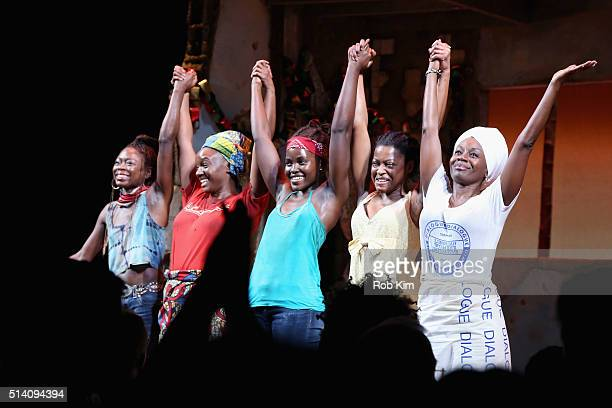 Zainab Jah Saycon Sengbloh Lupita Nyong'o Pascale Armand Akosua Busia appear onstage during the 'Eclipsed' broadway opening night at The Golden...