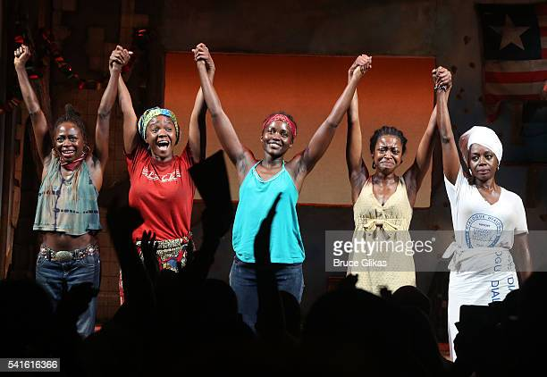 Zainab Jah Saycon Sengbloh Lupita Nyong'o Pascale Armand and Akosua Busia take their closing night curtain call for 'Eclipsed' on Broadway at The...