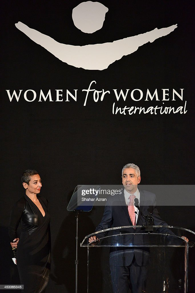 <a gi-track='captionPersonalityLinkClicked' href=/galleries/search?phrase=Zainab+Salbi&family=editorial&specificpeople=2151397 ng-click='$event.stopPropagation()'>Zainab Salbi</a> and Amjad Atallah onstage at the Women for Women 20th Anniversary Gala celebration at the American Museum of Natural History on December 3, 2013 in New York City.
