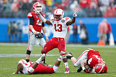 Zaire Anderson of the Nebraska Cornhuskers celebrates after tackling Brendan Douglas of the Georgia Bulldogs in the first half during the...