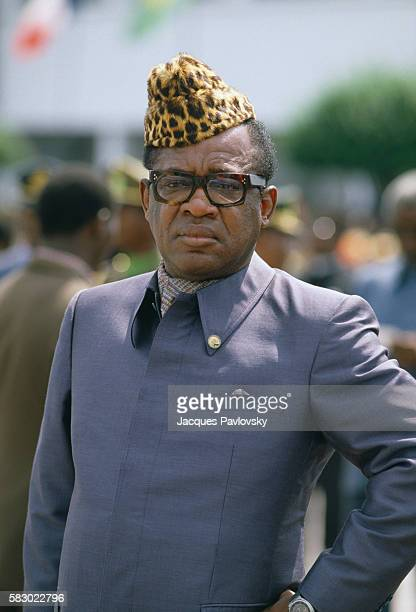 Zaire President Mobutu prepares to meet with French President Francois Mitterrand