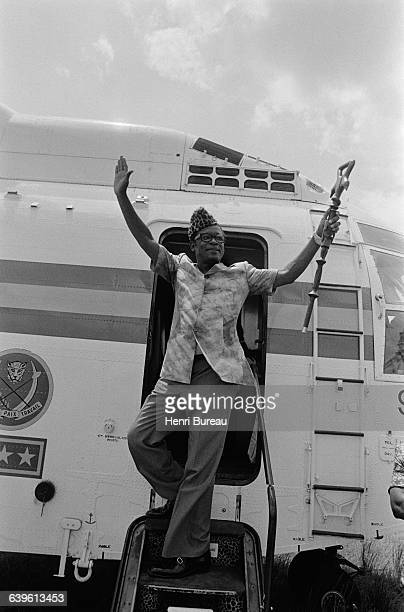 Zairian President Mobutu arrives at Kinshasa Stadium where he presents to a crowd of 60000 citizens of Zaire the first wounded revolutionist...