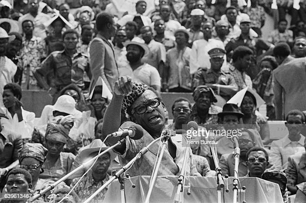 Zairian President Mobutu at Kinshasa Stadium presents to a crowd of 60000 citizens of Zaire the first wounded revolutionist prisoners captured by the...