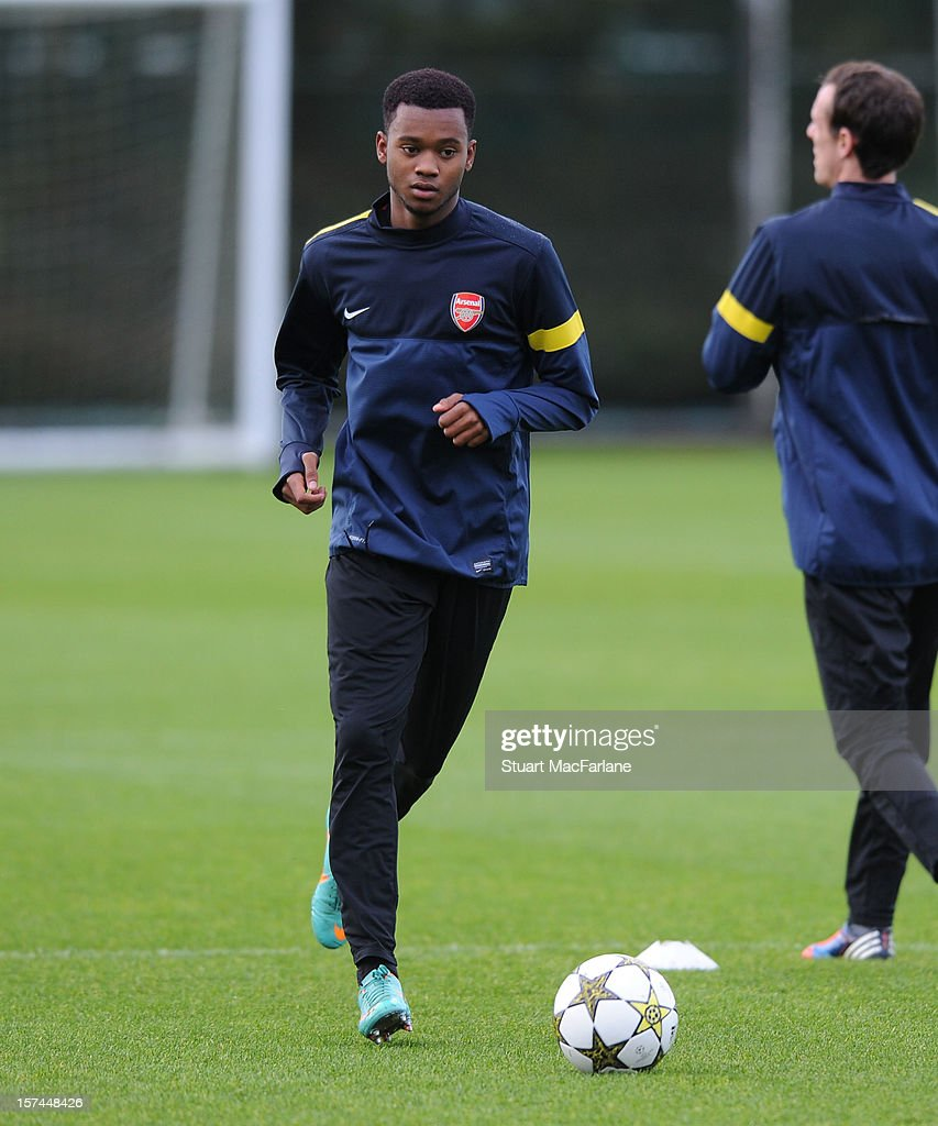 Zak Ansah of Arsenal during a training session at London Colney on December 03, 2012 in St Albans, England.