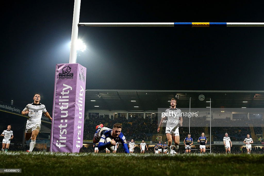 Zak Hardaker of Leeds Rhinos goes over for the opening try during the First Utility Super League match between Leeds Rhinos and Widnes Vikings at Headingley Carnegie Stadium on February 13, 2015 in Leeds, England.