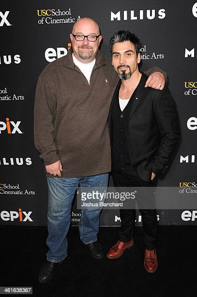 Zak Knutson and Joey Figueroa arrive at EPIX USC Host An Evening With John Milius at USC Norris Theatre on January 9 2014 in Los Angeles California