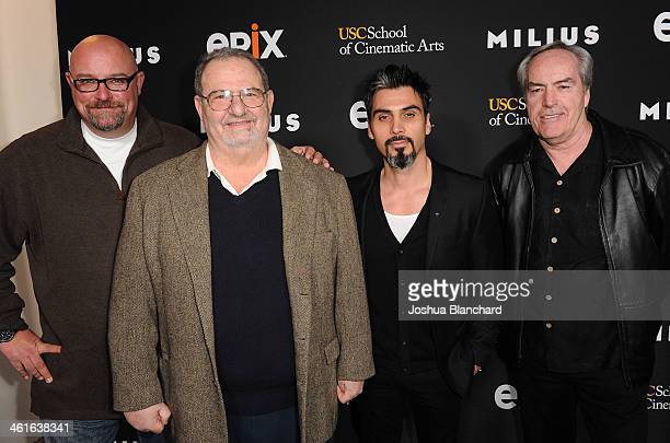 Zak Knutson John Milius Joey Figueroa and Powers Boothe arrive at EPIX USC Host An Evening With John Milius at USC Norris Theatre on January 9 2014...
