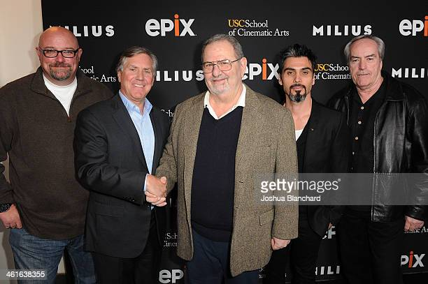 Zak Knutson Mark Greenberg John Milius Joey Figueroa and Powers Boothe arrive at EPIX USC Host An Evening With John Milius at USC Norris Theatre on...