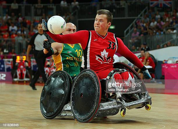 Zak Madell of Canada in action during the Gold Medal match of Mixed Wheelchair Rugby against Australia on day 11 of the London 2012 Paralympic Games...