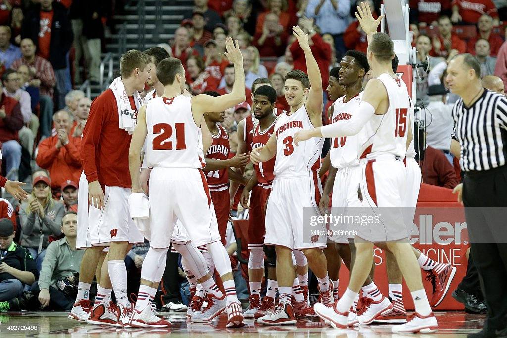 Zak Showalter of the the Wisconsin Badgers celebrates after drawing a foul during the second half against the Indiana Hoosiers at Kohl Center on...