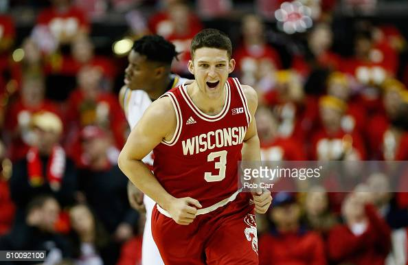 Zak Showalter of the Wisconsin Badgers celebrates after hitting a three pointer against the Maryland Terrapins in the second half at Xfinity Center...