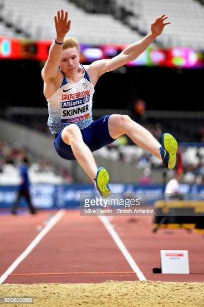 Zak Skinner of Great Britain competes in the Mens long jump T13 final during day nine of the IPC World ParaAthletics Championships 2017 at London...