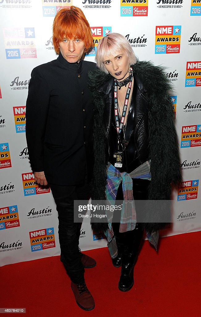 Zak Starkey and Sahrna Liguz attend the NME Awards at Brixton Academy on February 18 2015 in London England