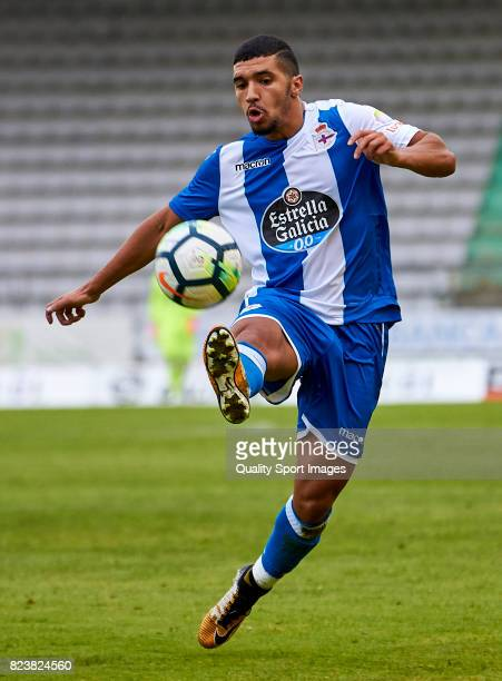Zakaria Bakkali of Deportivo de La Coruna controls the ball during the preseason friendly match between Racing de Ferrol and Deportivo de La Coruna...