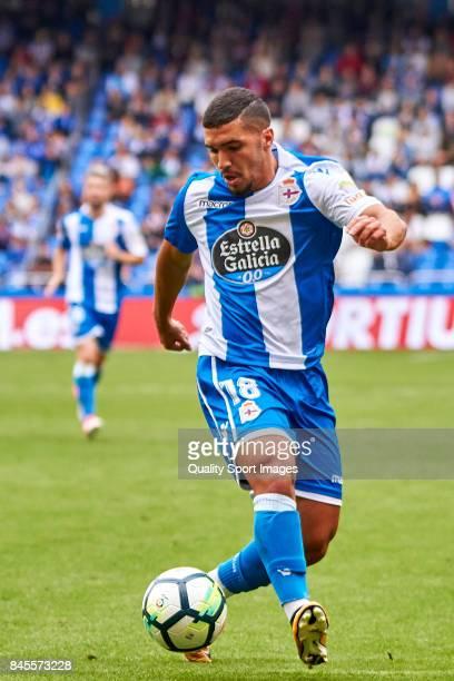 Zakaria Bakkali of Deportivo de La Coruna in action during the La Liga match between Deportivo La Coruna and Real Sociedad at Riazor Abanca Stadium...