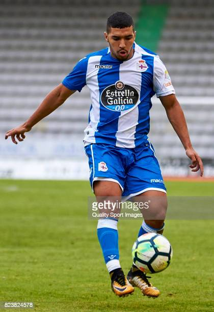Zakaria Bakkali of Deportivo de La Coruna in action during the preseason friendly match between Racing de Ferrol and Deportivo de La Coruna on July...
