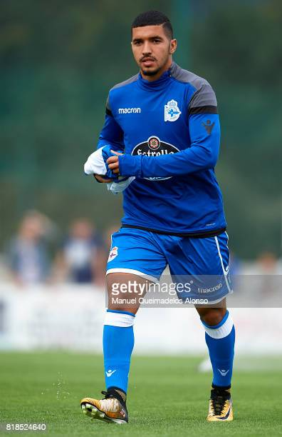 Zakaria Bakkali of Deportivo de La Coruna looks on prior to the preseason friendly match between Cerceda and Deportivo de La Coruna at O Roxo Stadium...