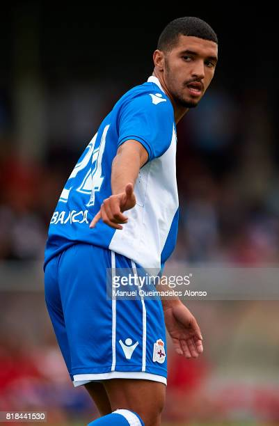 Zakaria Bakkali of Deportivo de La Coruna reacts during the preseason friendly match between Cerceda and Deportivo de La Coruna at O Roxo Stadium on...